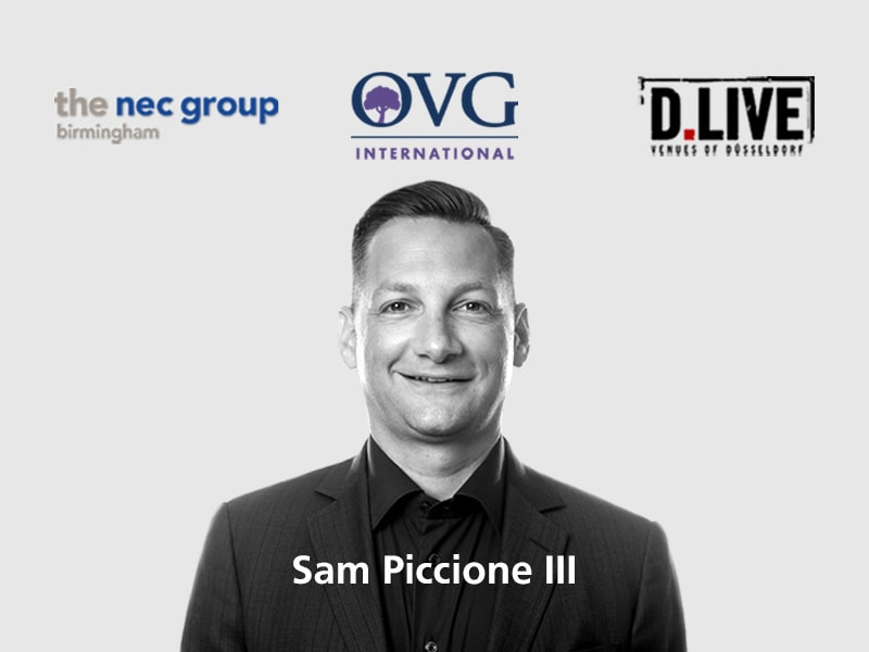 NEC Group, OVG International, D.Live logos with picture of Sam Piccione III below