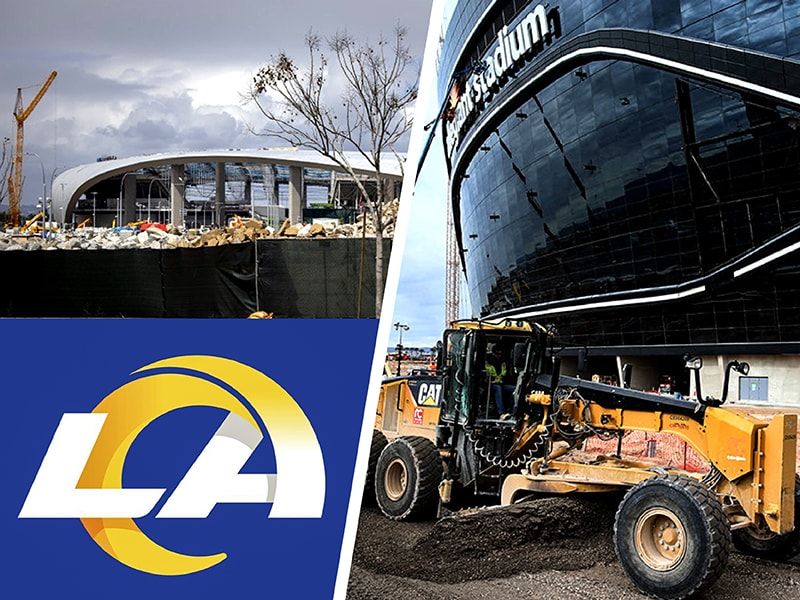 Construction continues at SoFi and Allegiant and new LA Rams logo