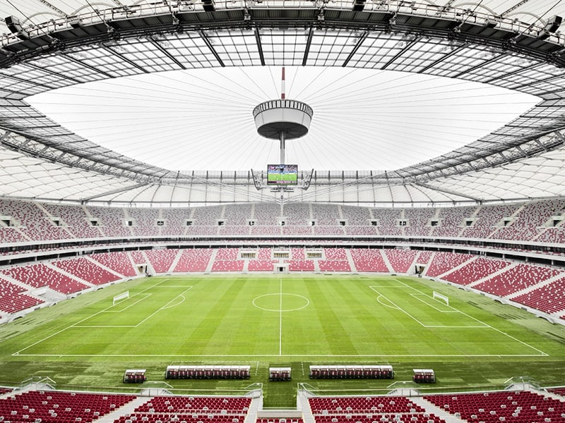 Poland Warsaw stadium as field hospital